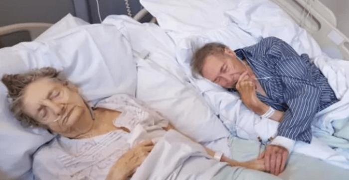 Placé côte à côte dans une chambre d'hôpital, découvrez ce vieux couple partageant les derniers moments à vivre ensemble